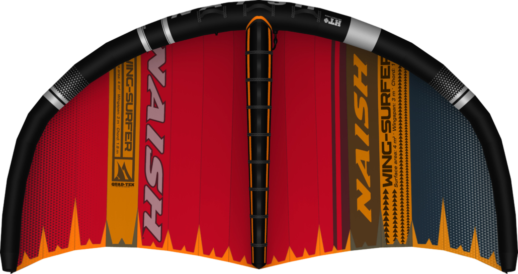 Bottom view of the 2020 Wing-Surfer in red orange and gray
